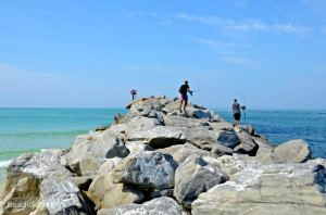 Men fishing from the Destin Jetties