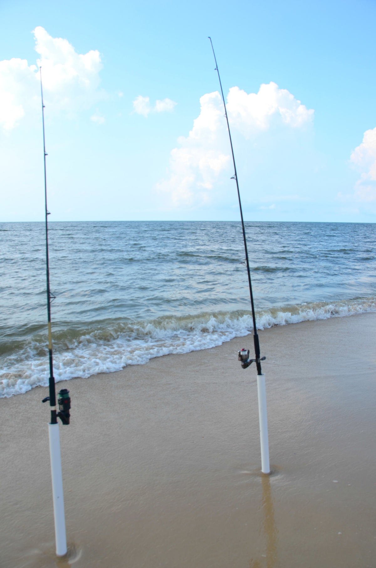Surf fishing is a familiar site on St. George Island and other Forgotten Coast beaches.
