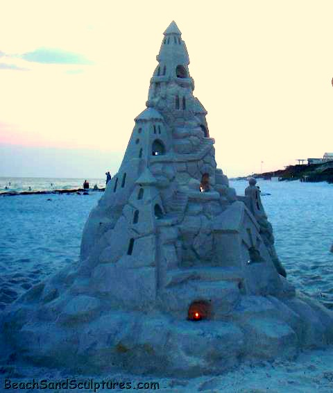 Illuminated sandcastle on the beach in Seaside, Florida.