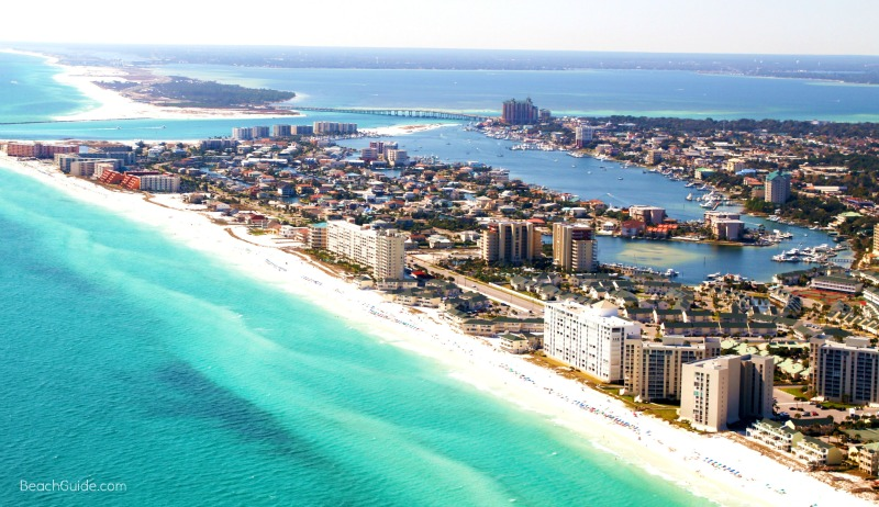 Aerial view of Destin Harbor, East Pass and the Gulf of Mexico
