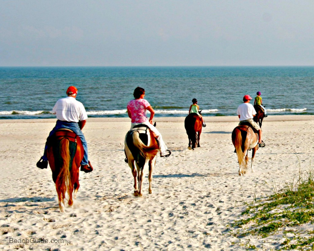 Family horseback riding on the beach in Cape San Blas, Florida