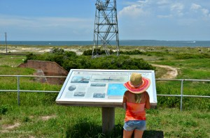 Fort Morgan visitor on the self-guided tour