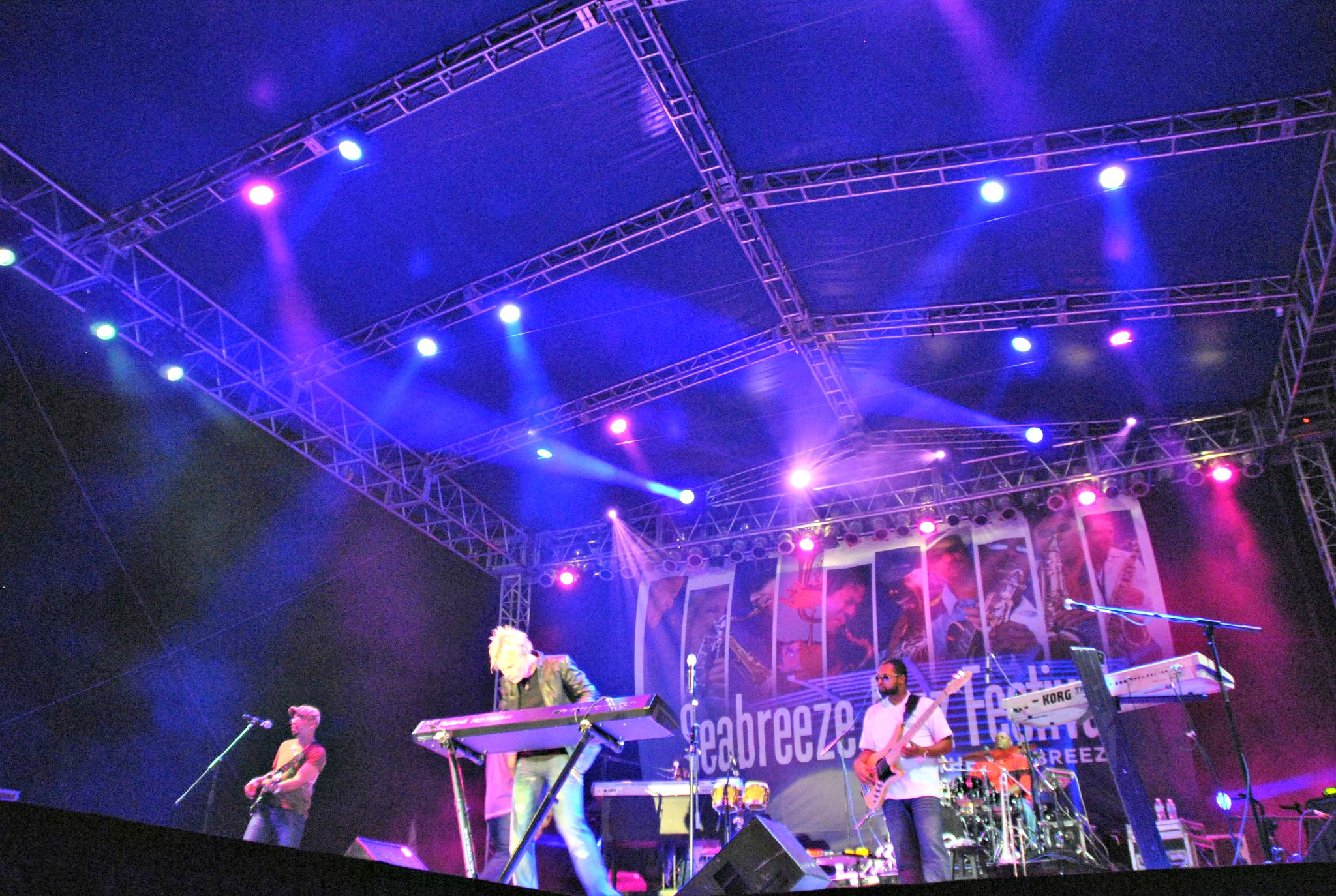 Brian Culbertson and his band performing at the Seabreeze Jazz Festival in Panama City Beach
