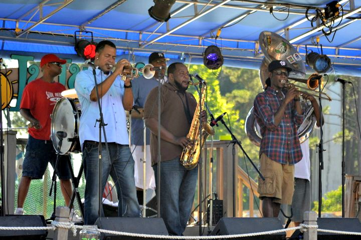 Musicians performing on stage at Lulupalooza