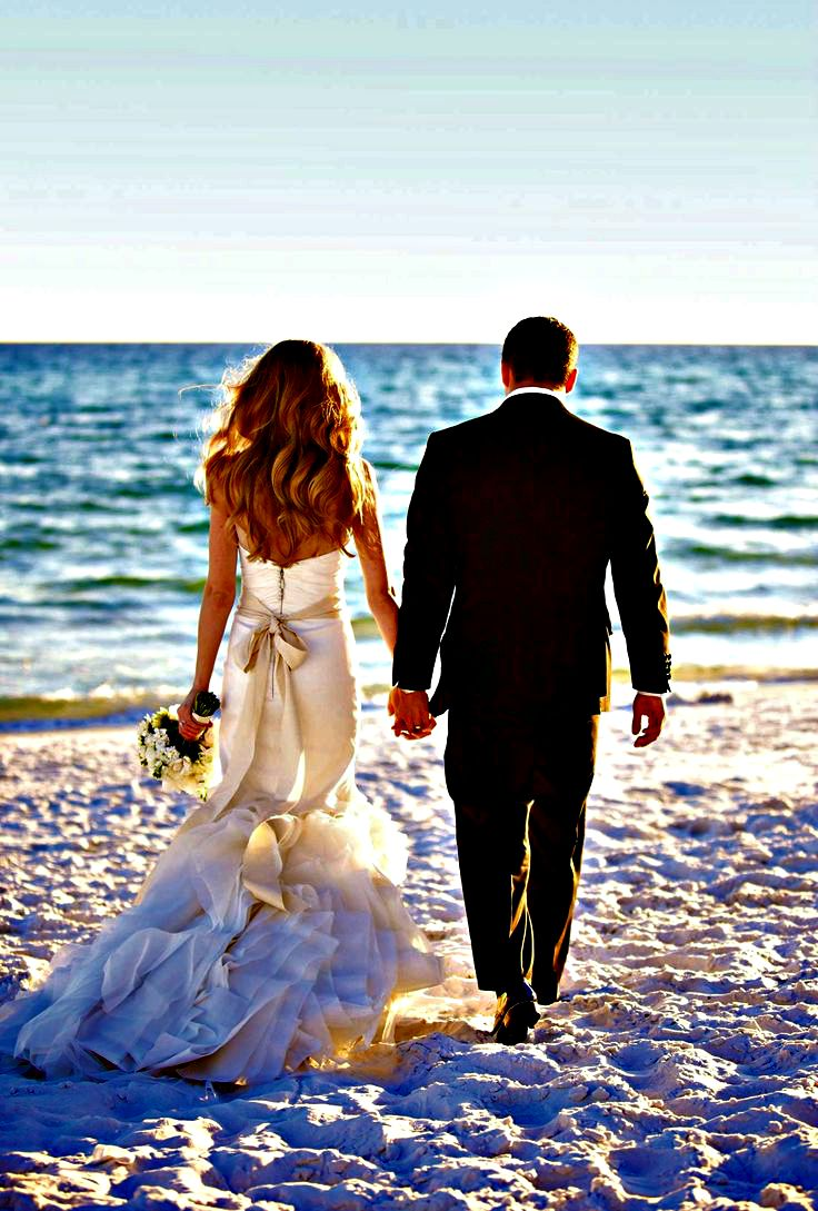 Sandestin Golf and Beach Resort bride and groom taking a walk on the beach
