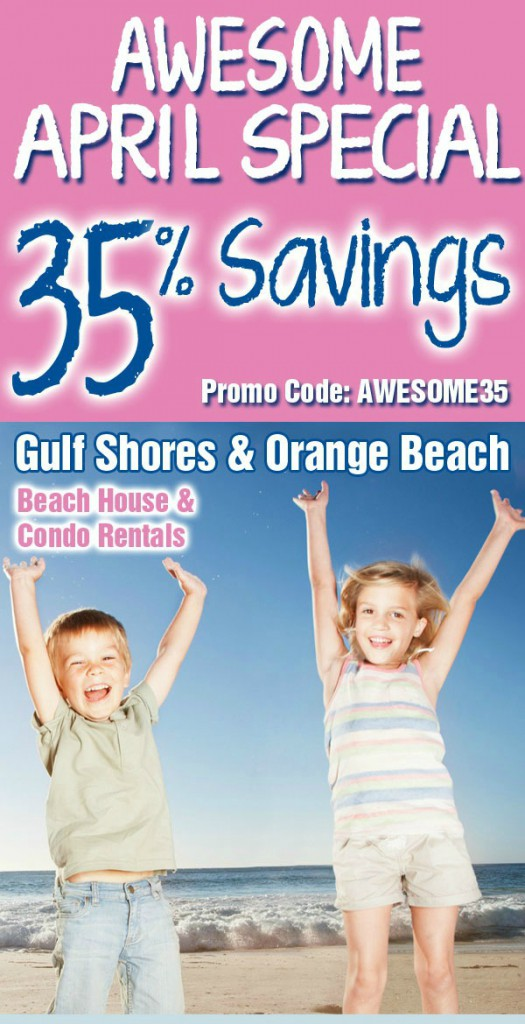 Gulf Shores vacation special for April