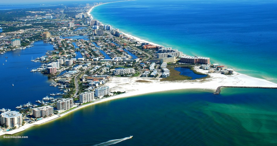 Aerial view of the East Pass, Destin Harbor and the Gulf of Mexico -- the heart of many Destin Florida attractions.