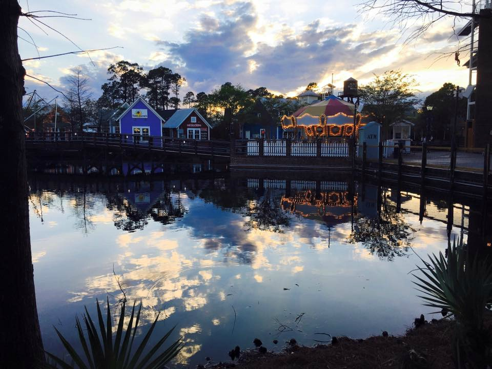 Evening shot of the Village of Baytowne Wharf at Sandestin Golf and Beach Resort