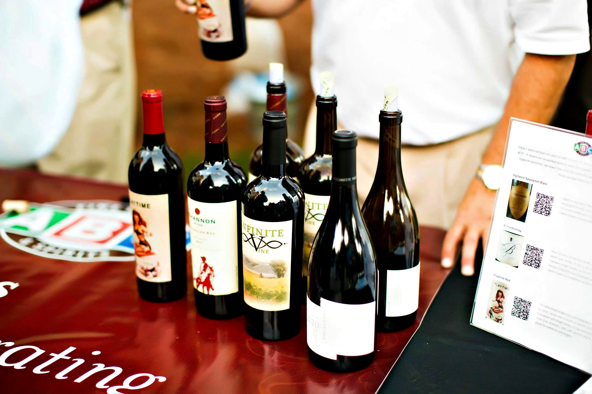 Sandestin Wine Festival sample bottles grouped on table