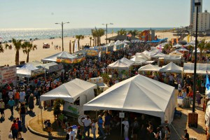 Food tents along the beach at the National Shrimp Festival in Gulf Shores