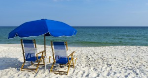 Beach chairs and umbrella in Gulf Shores, Alabama