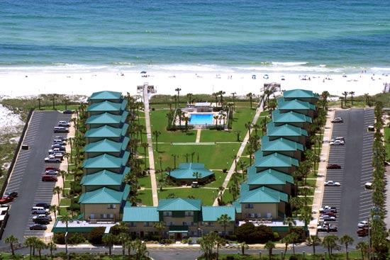 Aerial view of Seaspray Condominiums in Fort Walton Beach