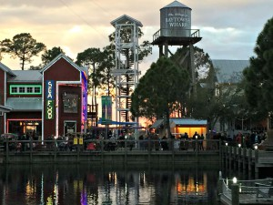 Sandestin's Village of Baytowne Wharf at night