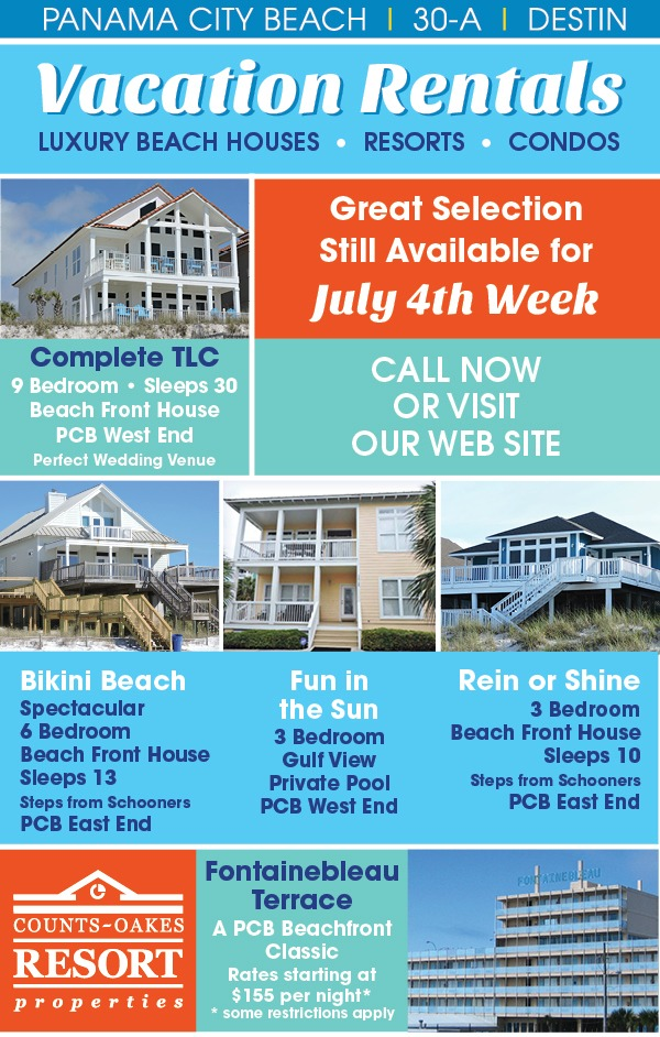 July 4th beach rentals available