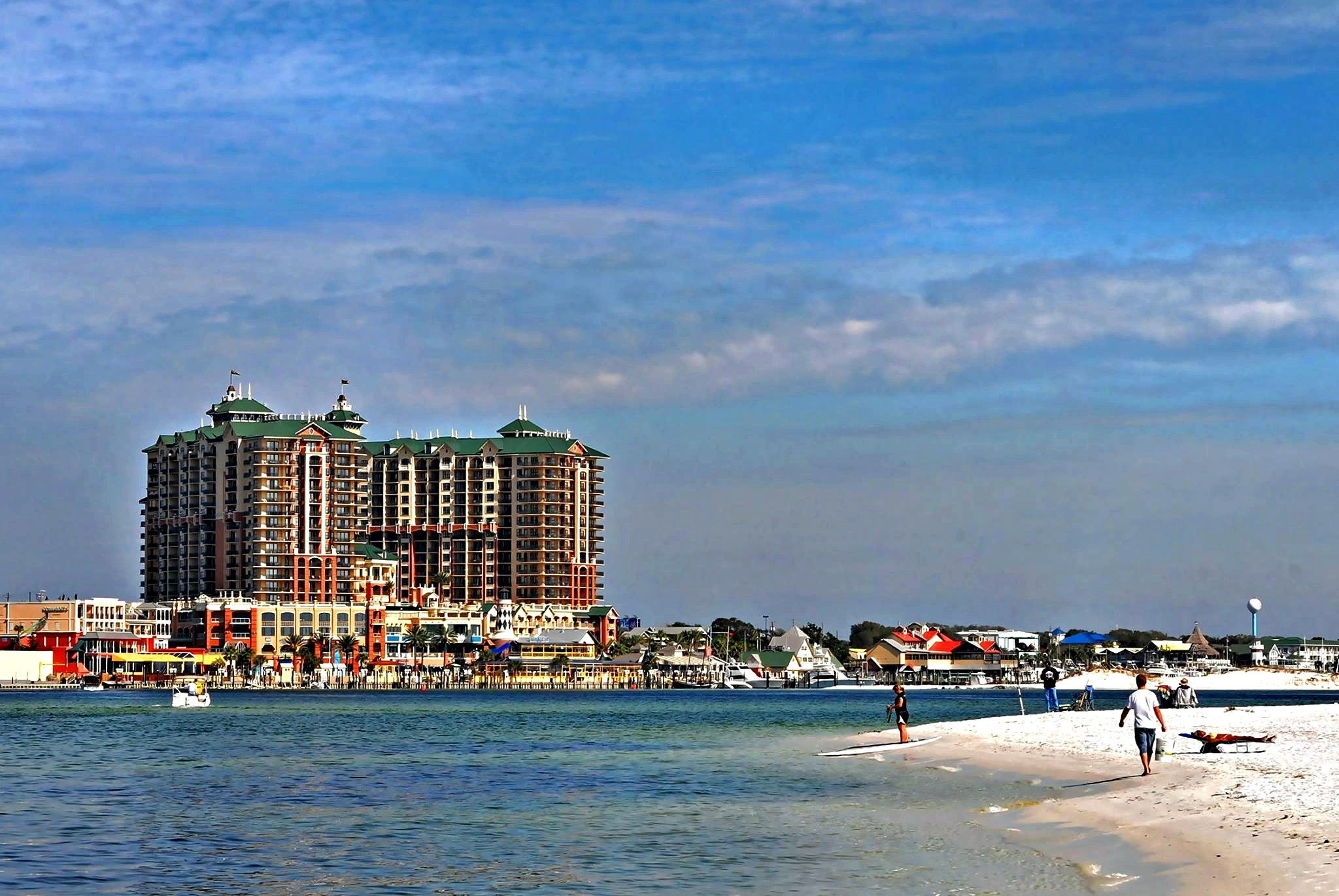 View of the Emerald Grande at HarborWalk Village from its private beach