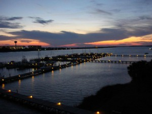 Sunset over the bay at Pirates' Bay in Fort Walton Beach