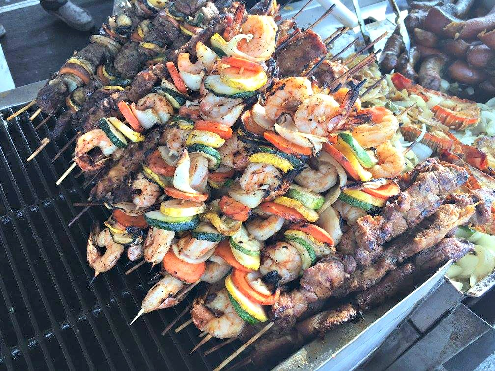 Grilled shrimp and vegetable kabobs at the National Shrimp Festival in Gulf Shores