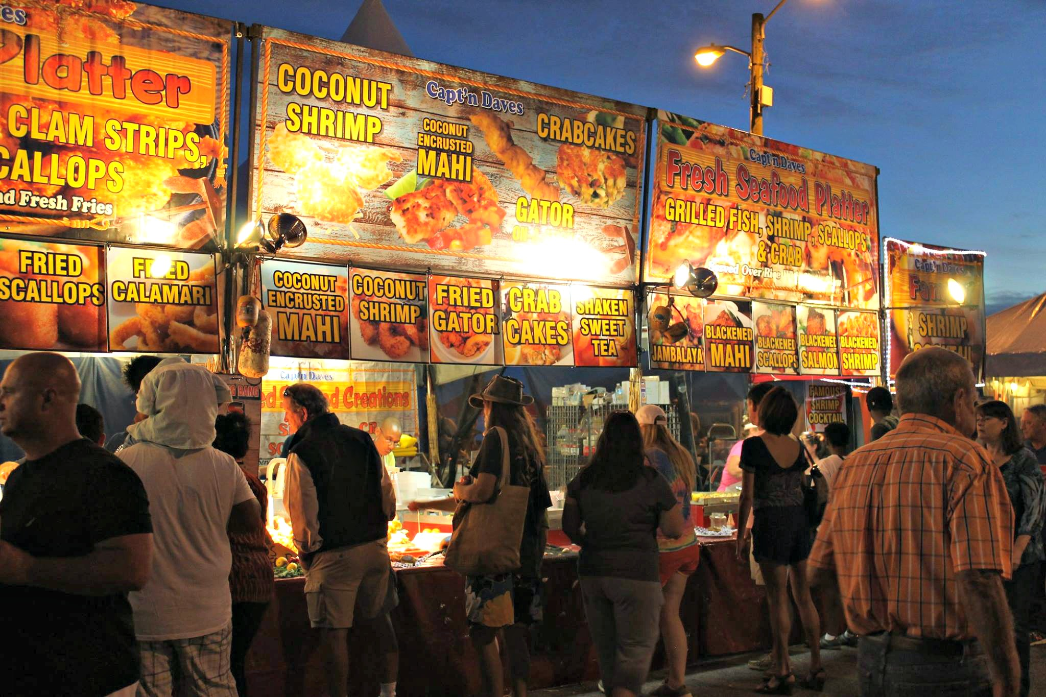 National Shrimp Festival Gulf Shores night shot of food booth