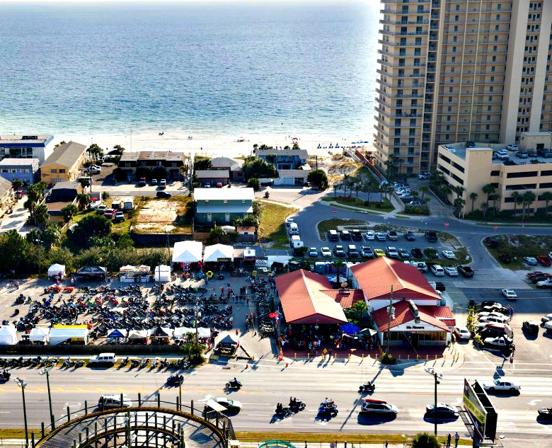 Aerial View Of The Thunder Beach Motorcycle Rally In Panama City Florida