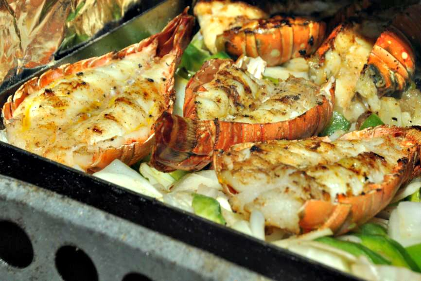 Destin Seafood Festival platter of broiled lobster tails