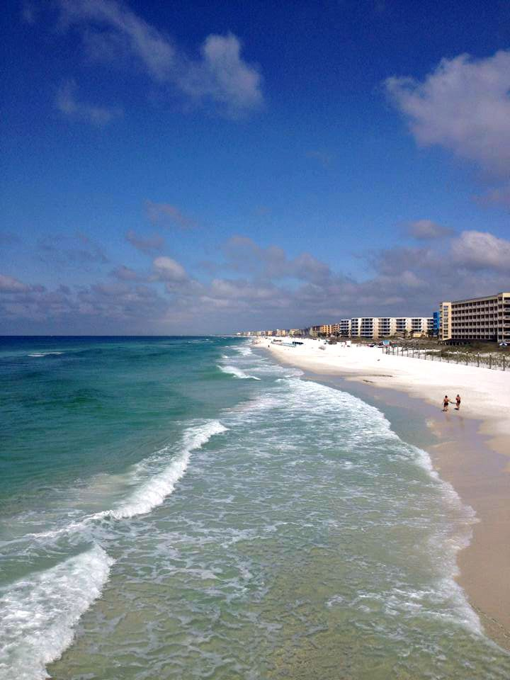 Gulf-front condos, emerald waters, and white sands at Fort Walton Beach, Florida