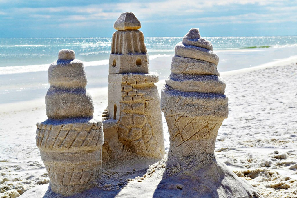 Three sandcastle towers by beachsandsculptures.com