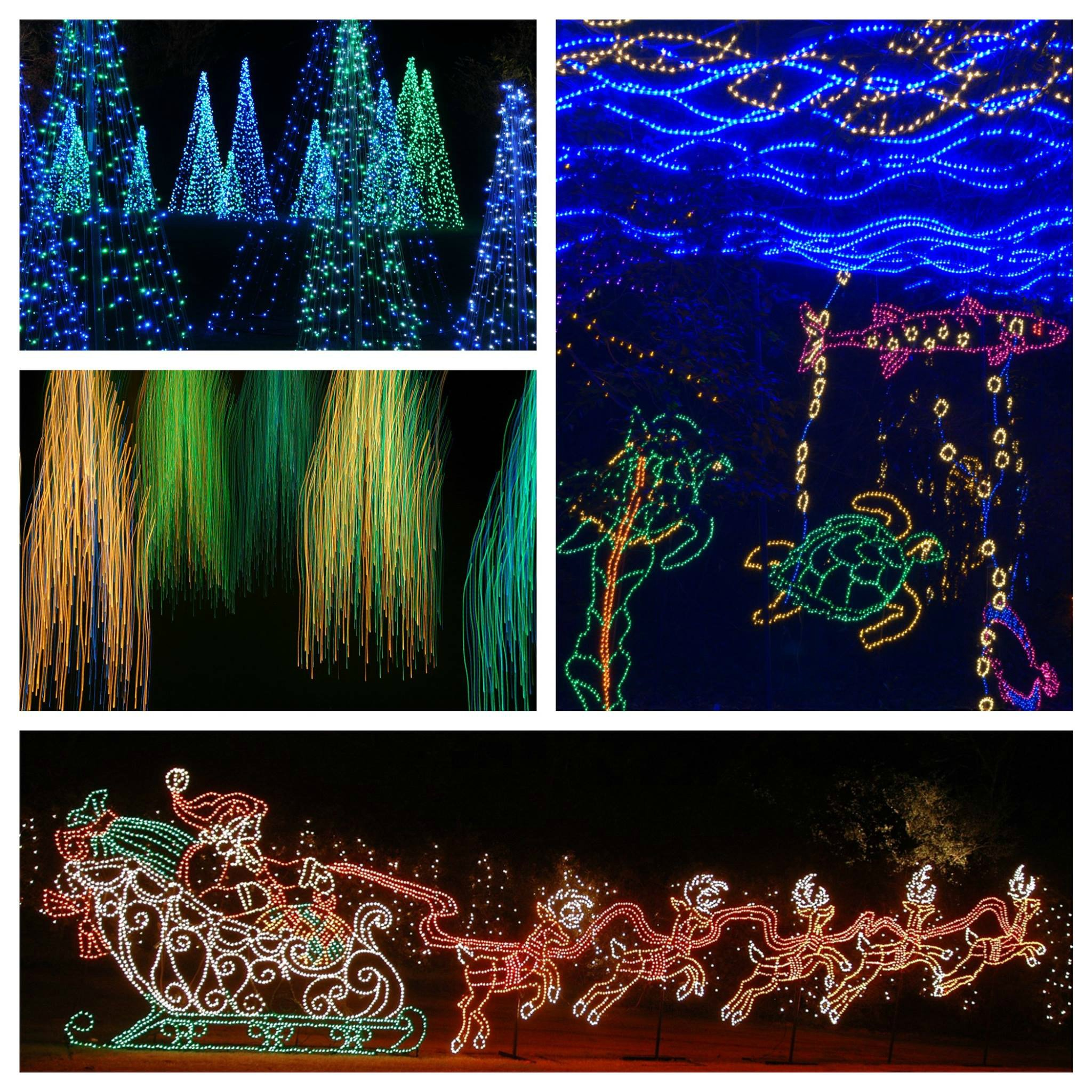 Bellingrath Gardens Magic Christmas in Lights collage of four different displays