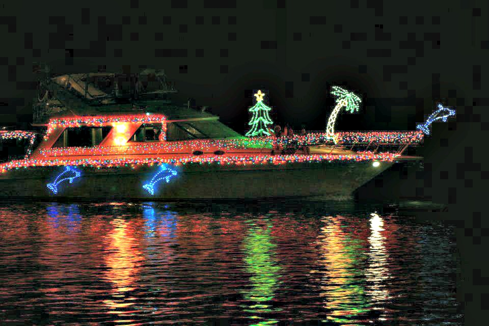 Christmas boat parade in Destin