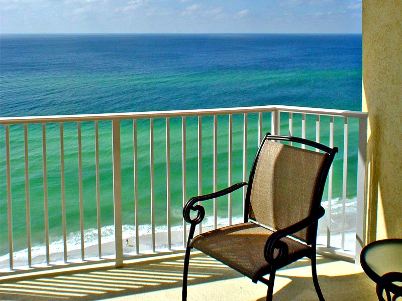 Sunny Gulf-front balcony at Boardwalk Beach Resort in Panama City Beach
