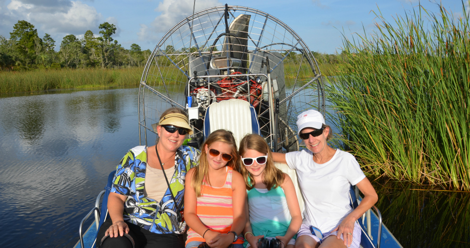 Air boat eco-tours are a fun way to explore Apalachicola.