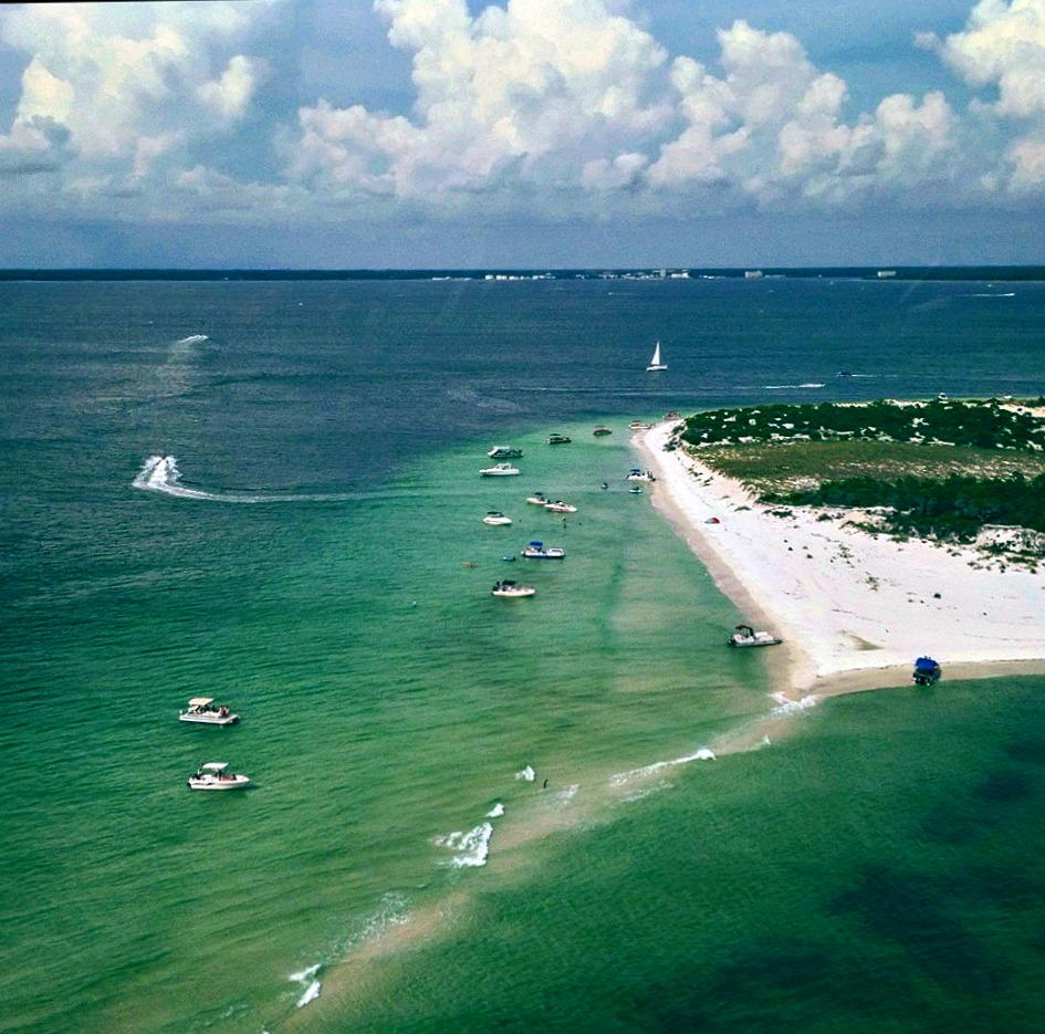 Aerial view of Shell Island in Panama City Beach