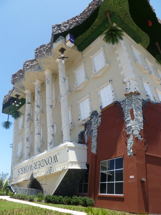 "The ""upside-down exterior of WonderWorks museum in Panama City Beach, FL"