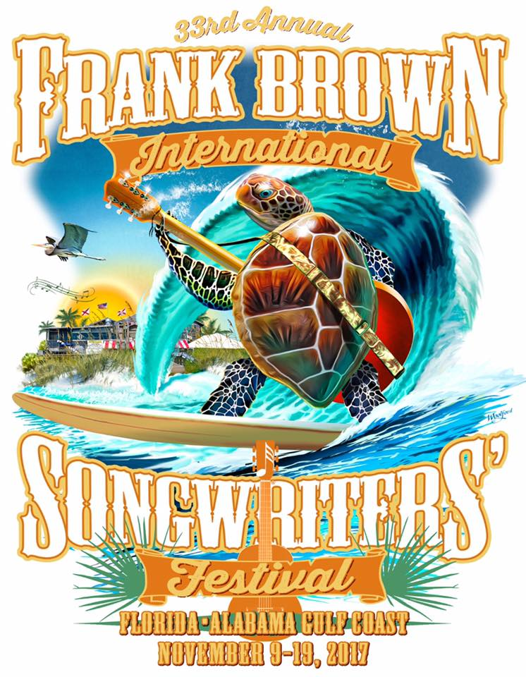 Frank Brown Songwriters Festival 2017 poster by Alan Woolford