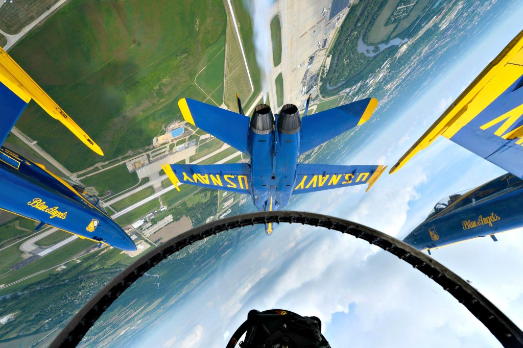 Pilot's view of Blue Angels/ upside-down flying formation