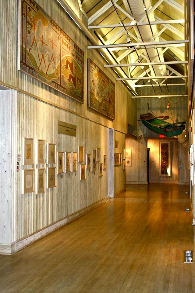 Painting-lined exhibit hall at Walter Anderson Museum of Art in Ocean Springs, Mississippi, one of ten easy day trips from Gulf Shores