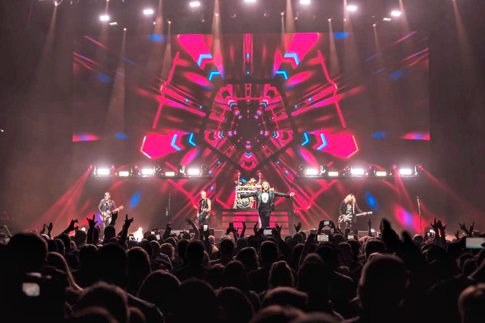 English rock group Def Leppard in concert. The group is one of the headliners at the fifth annual Fort Rock Festival.