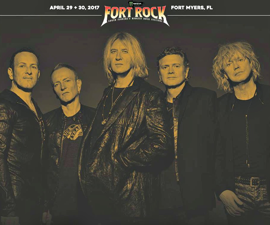 Fifth annual Fort Rock festival poster featuring English rock band Def Leppard