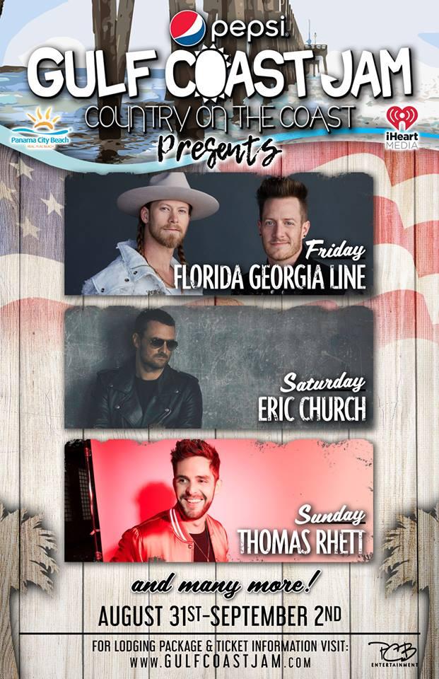 Pepsi Gulf Coast Jam 2018 headliners composite shot of Florida Georgia Line, Eric Church, and Thomas Rhett