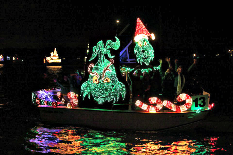 Seuss's Grinch lights up this boat at the Venice Christmas Boat Parade.