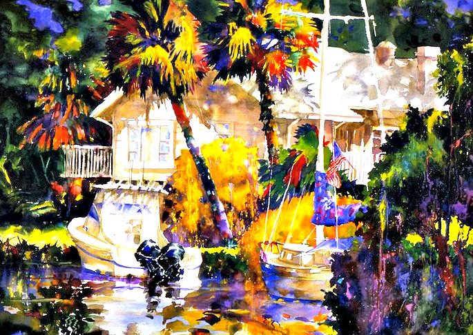 Colorful painting of a tropical scene by ArtFest Fort Myers artist Jim Holehouse