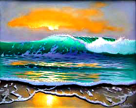 Anna Maria Island Art League small stylized painting of surf against the sand