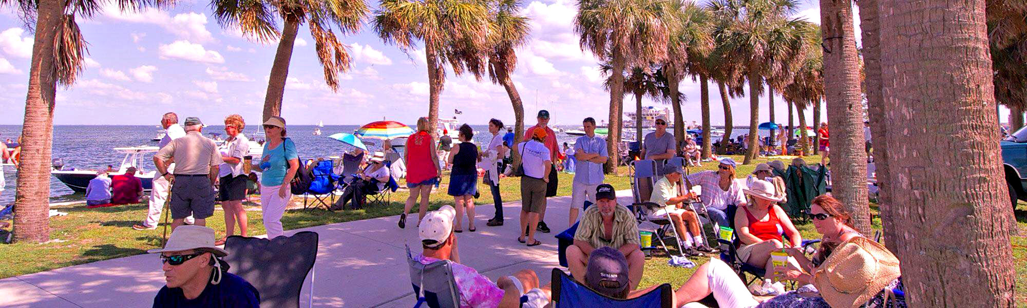 Tampa Bay Blues Festival-goers stroll a path along the bay.