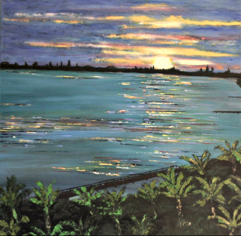 Painting of sunset over the water, on display at Siesta Key's Siesta Fiesta