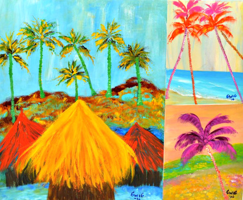Tropical painting by Ingrid Barrientos displayed at Siesta Fiesta on Siesta Key