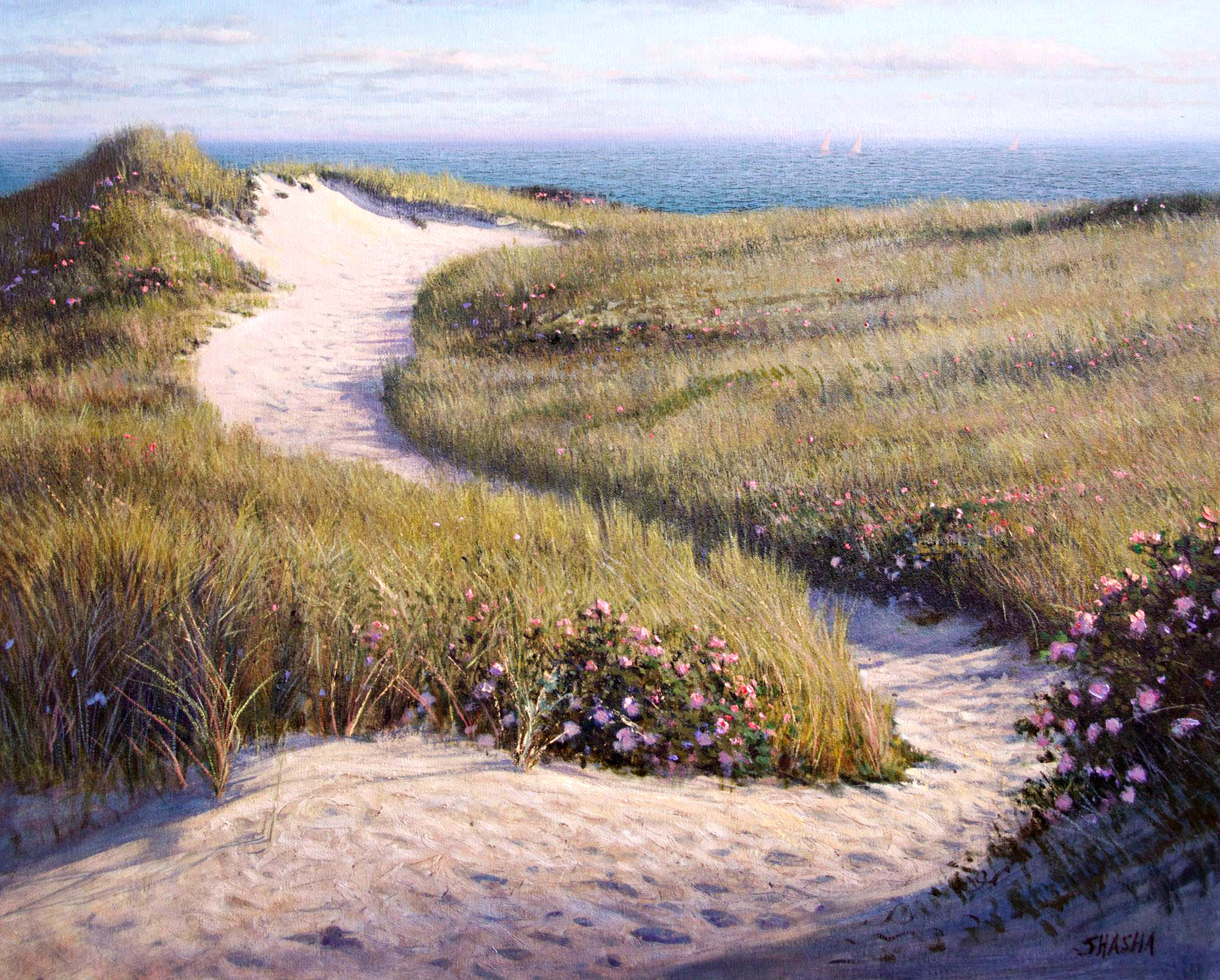 En plein air painting Dune Winder, by Mark Shasha