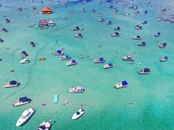 Aerial view of Crab Island in Destin, Florida