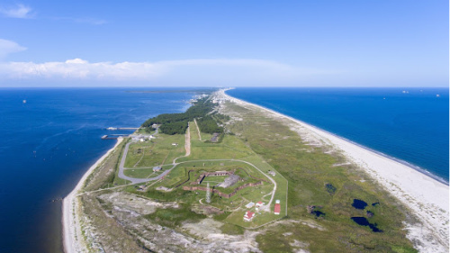 Aerial view of Fort Morgan and the surround secluded beaches.