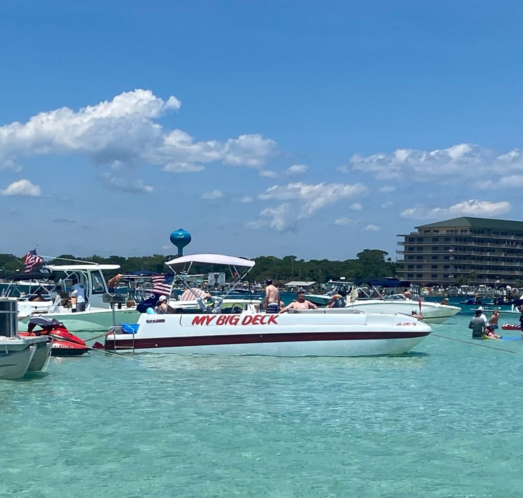 video of boats and people at Crab Island in Destin, Florida